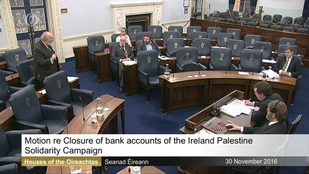 Private Motion on the Closure of the Ireland Palestine Solidarity Campaign Bank Accounts by Bank of Ireland - 30th November 2016