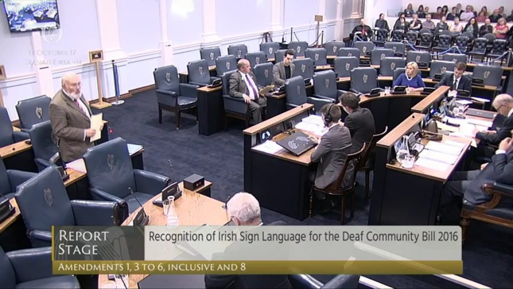 Recognition of the Irish Sign Language Bill - Committee and Remaining Stages - 17th October 2017